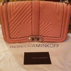 Rebecca Minkoff Chevron Pink Suede chain ba